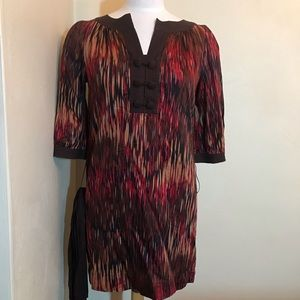 BCBG Multicolored tunic dress w/belt